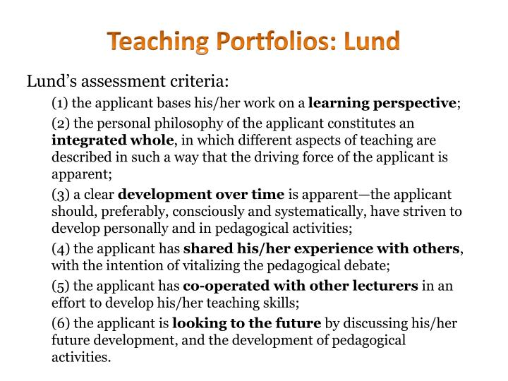 Teaching Portfolios: Lund