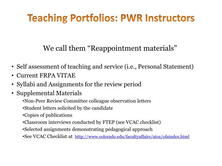 Teaching Portfolios: PWR Instructors