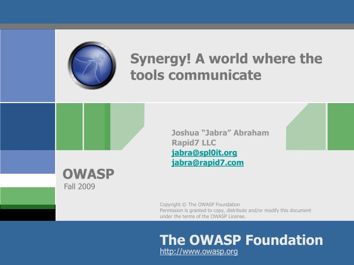 Synergy a world where the tools communicate