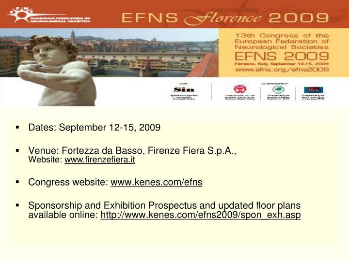 Dates: September 12-15, 2009