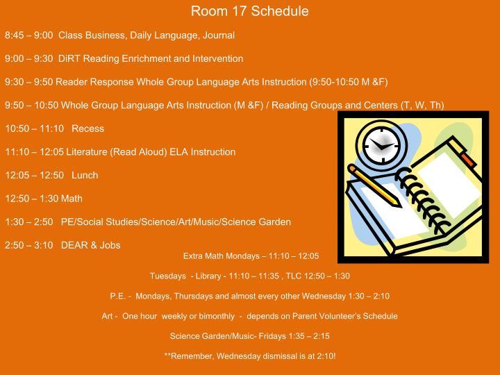 Room 17 Schedule