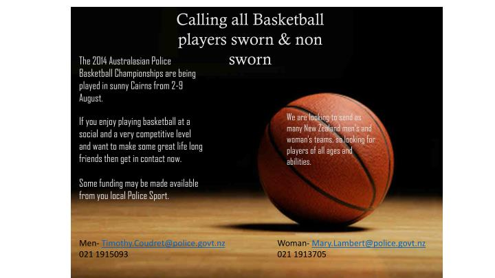 Calling all Basketball players sworn & non sworn