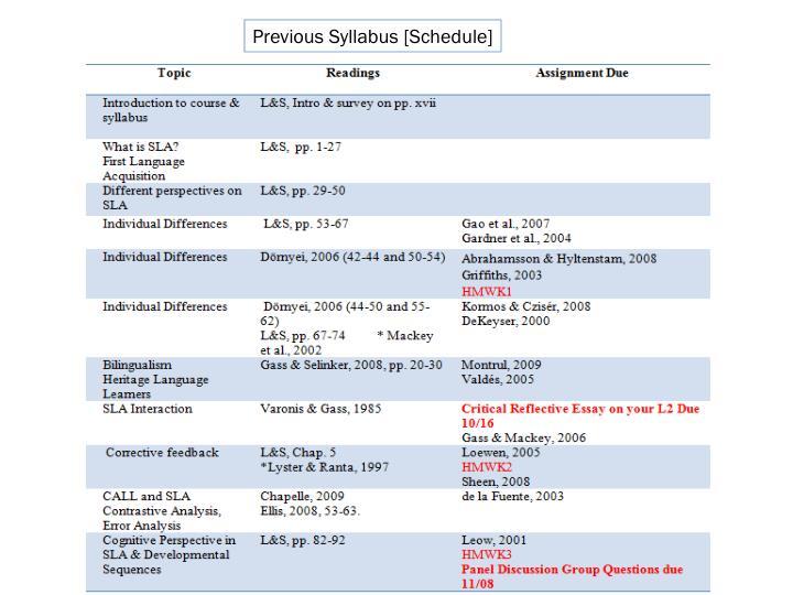Previous Syllabus [Schedule]