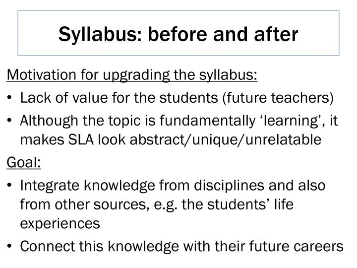 Syllabus: before and after