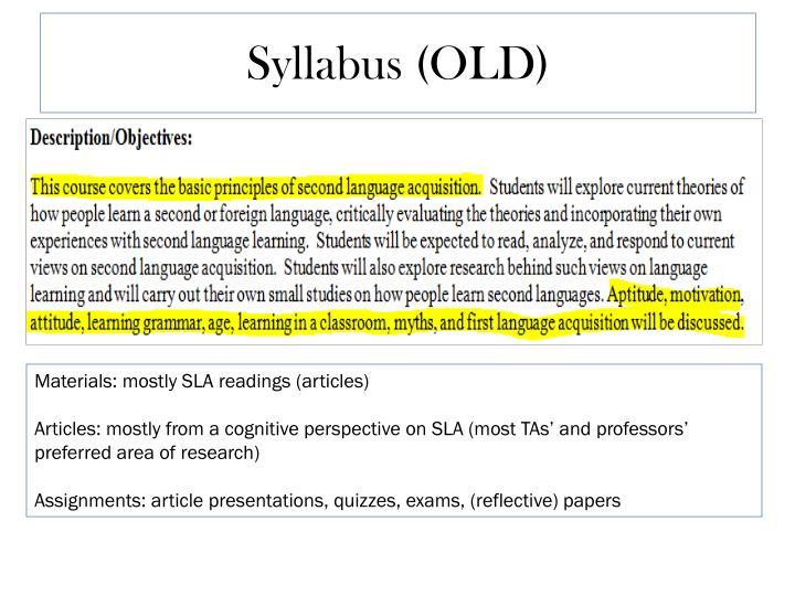 Syllabus (OLD)