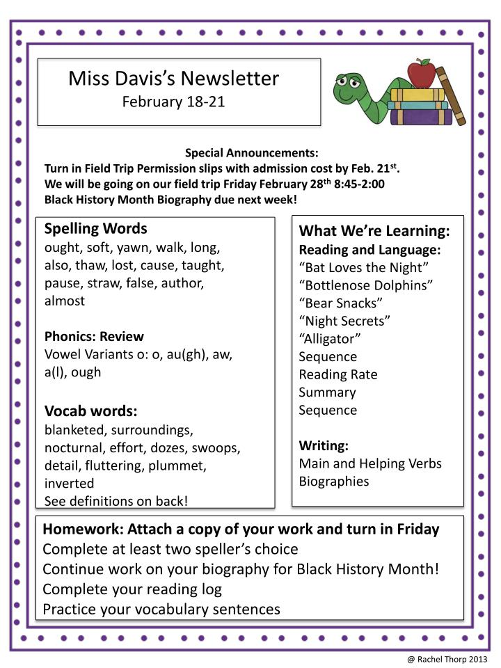 Miss Davis's Newsletter