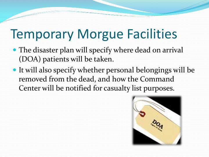 Temporary Morgue Facilities