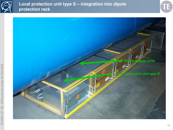 Local protection unit type S – integration into dipole protection rack