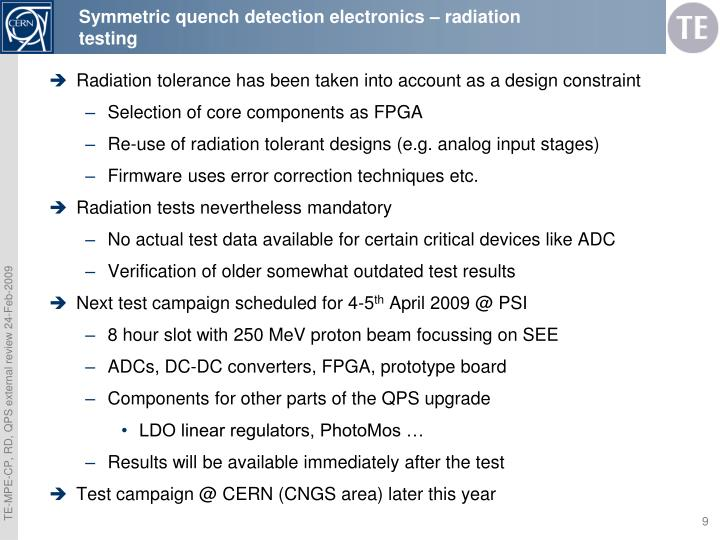 Symmetric quench detection electronics – radiation testing