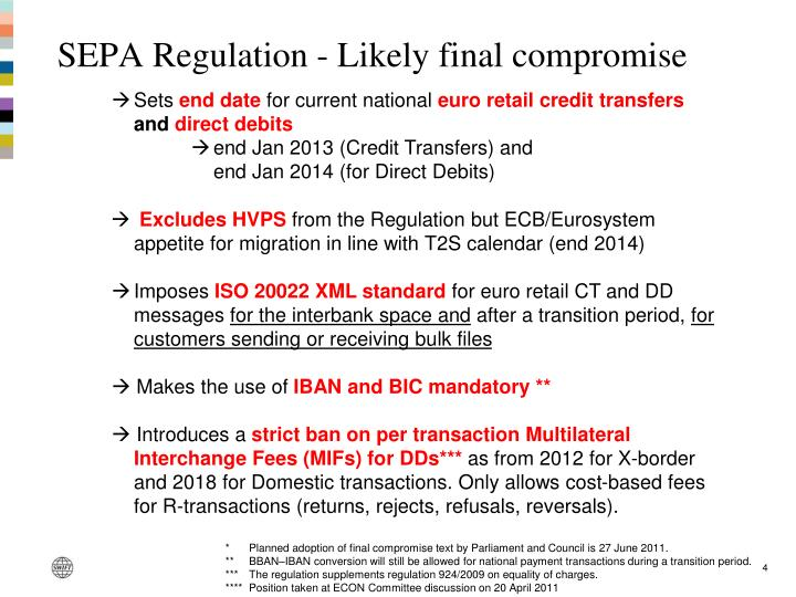 SEPA Regulation - Likely final compromise