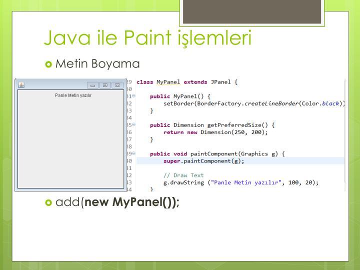 Java ile Paint işlemleri