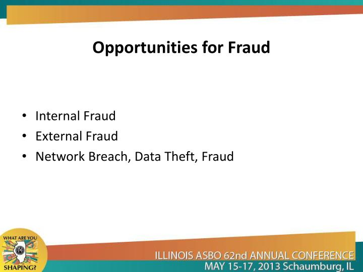 Opportunities for Fraud