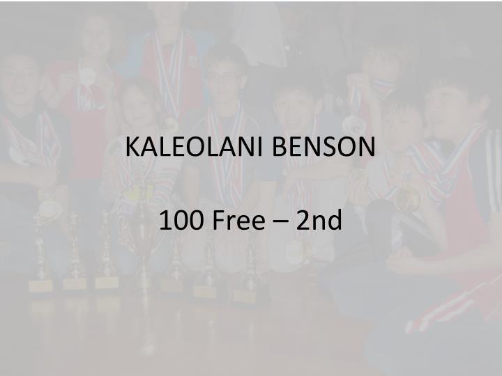 KALEOLANI BENSON