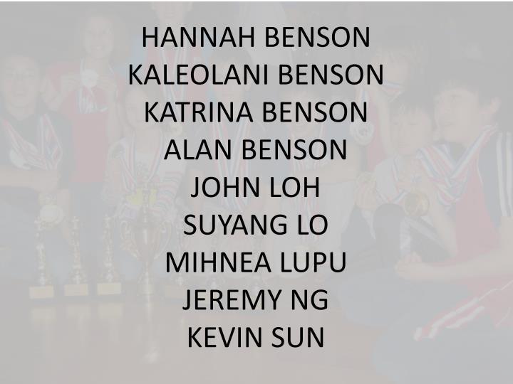 HANNAH BENSON