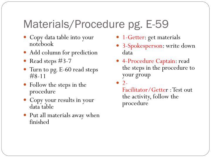 Materials/Procedure pg. E-59