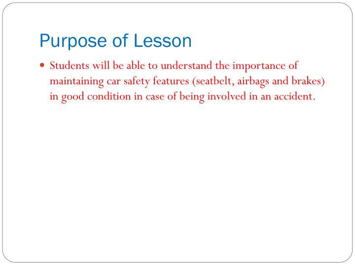 Purpose of Lesson