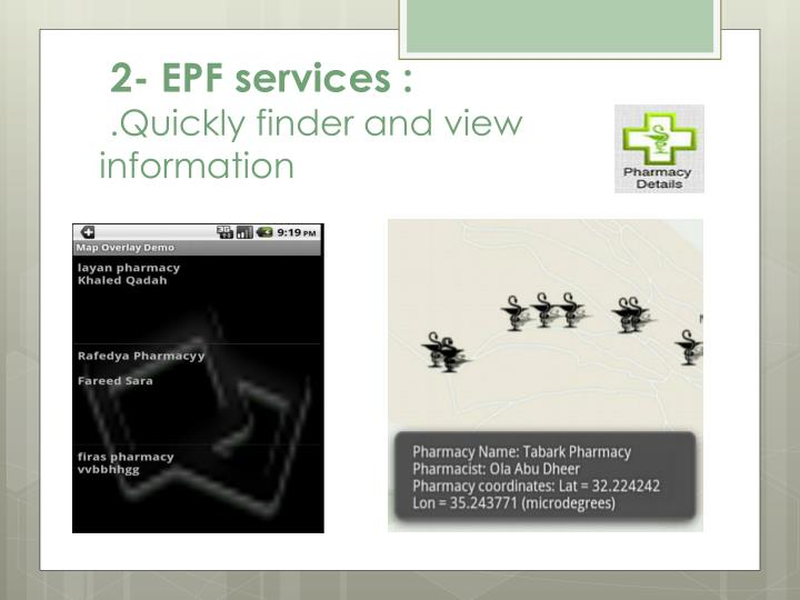 2- EPF services