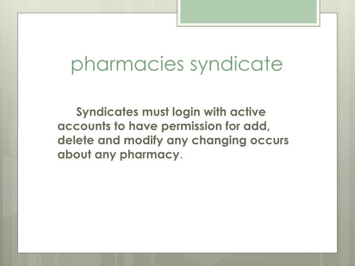 pharmacies syndicate