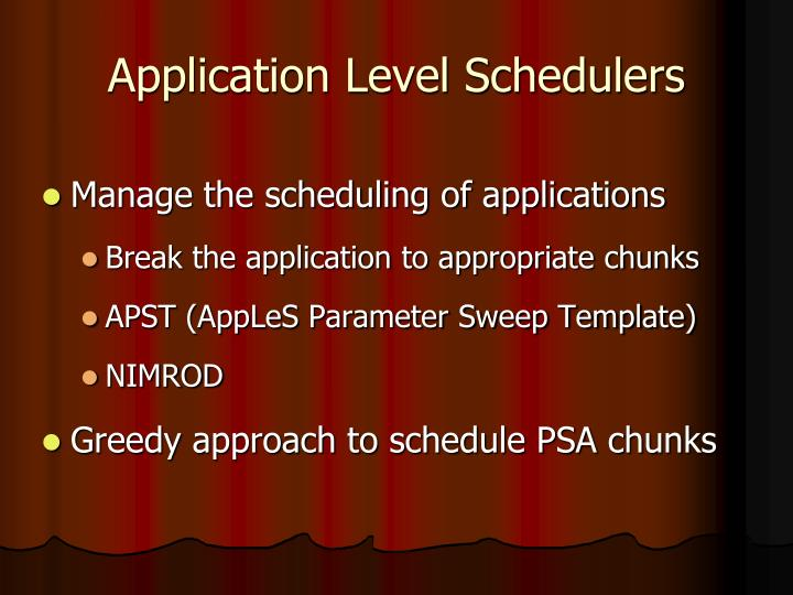 Application level schedulers