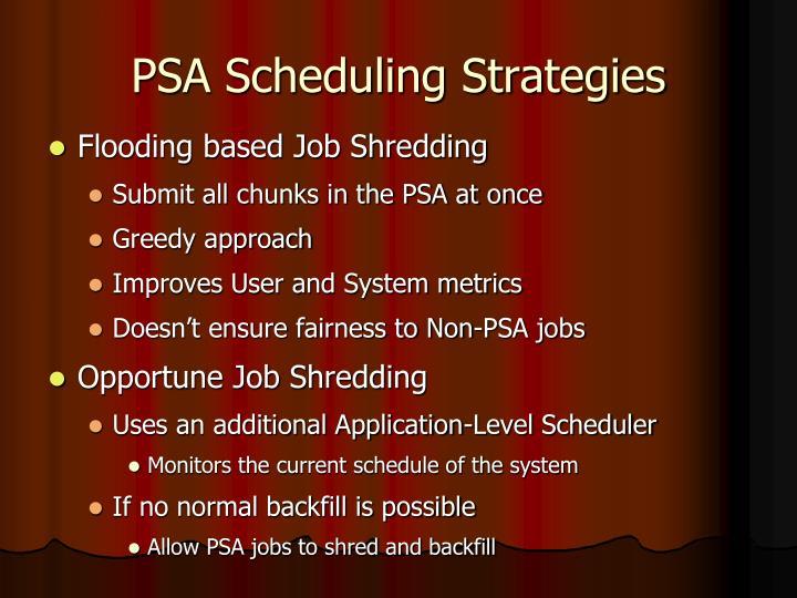 PSA Scheduling Strategies