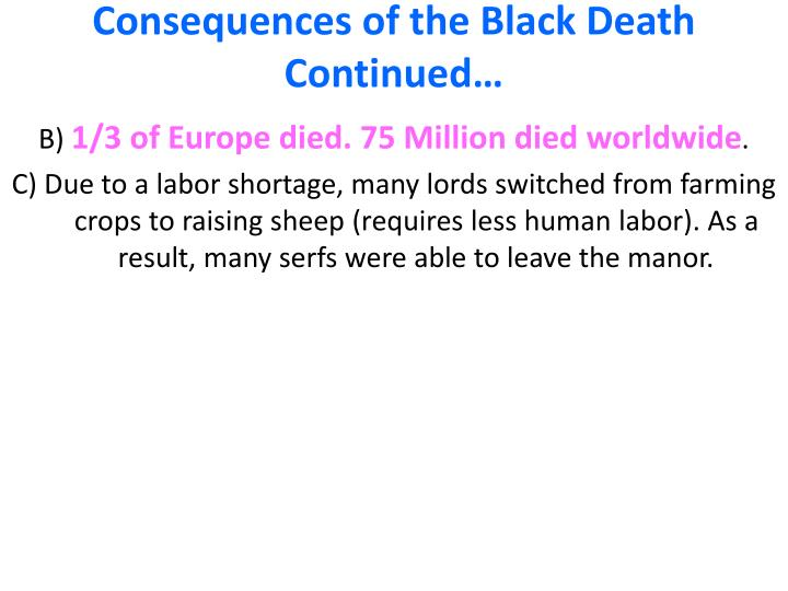 Consequences of the Black Death Continued…