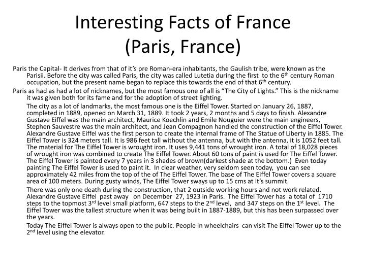 Interesting facts of france paris france