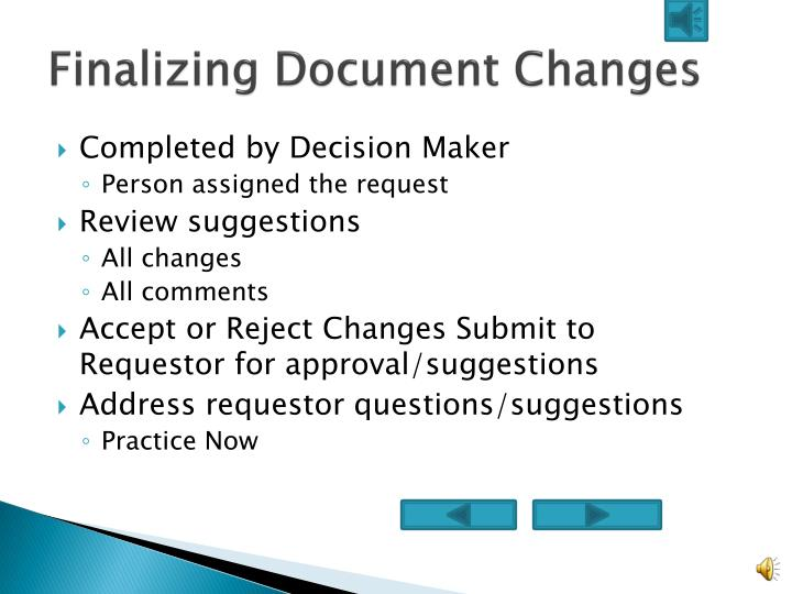 Finalizing Document Changes