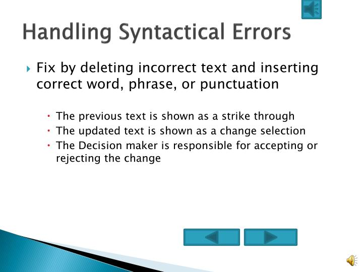 Handling syntactical errors