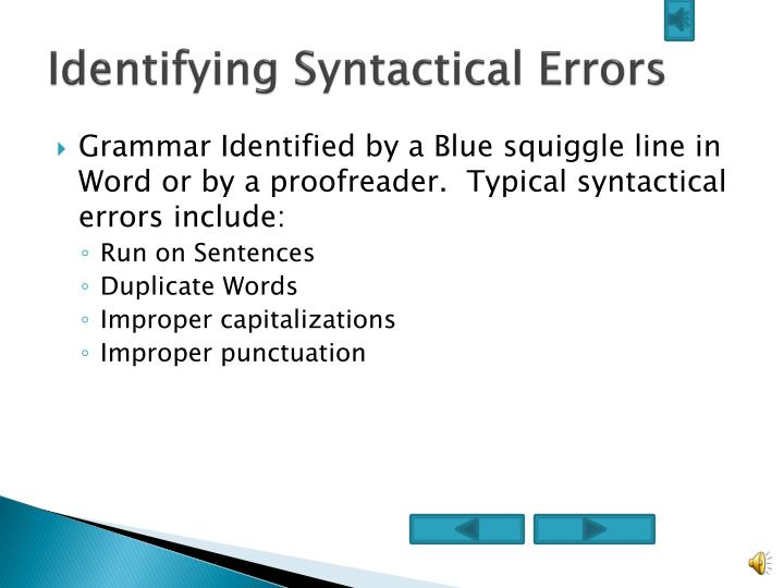identifying syntactical errors