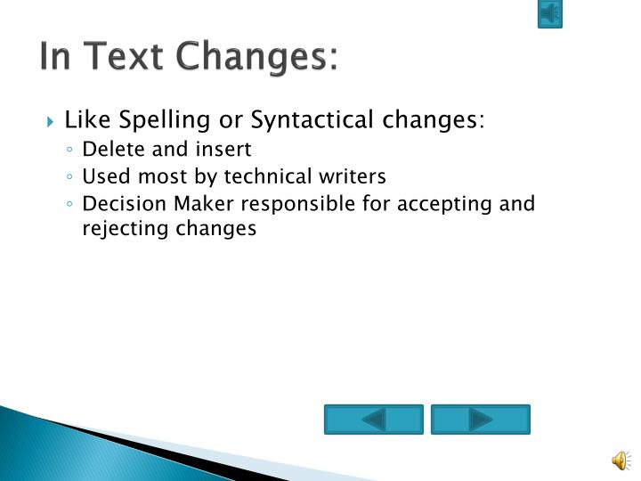 In Text Changes: