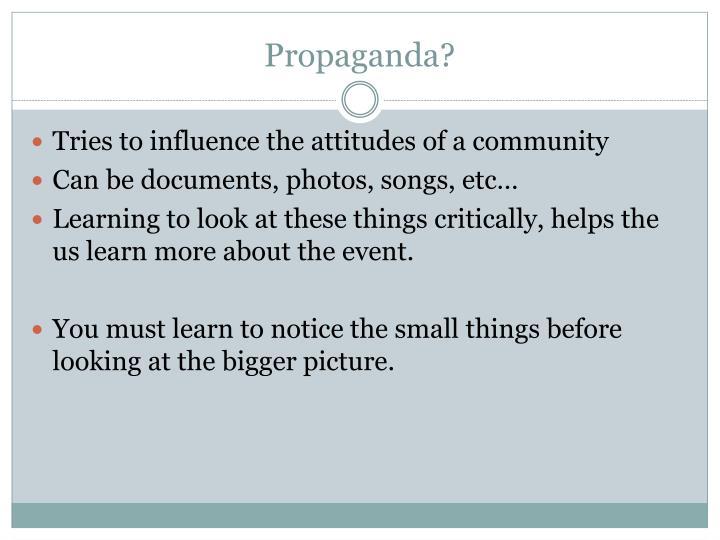 Propaganda?