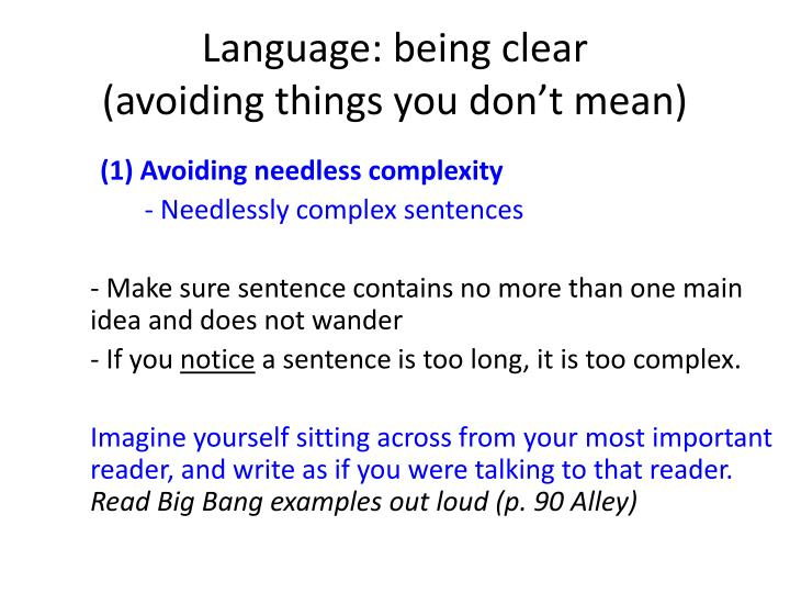 Language: being clear