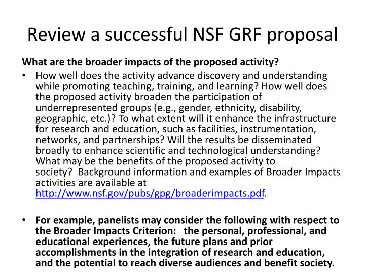 Review a successful NSF GRF proposal