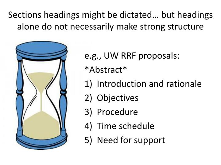 Sections headings might be dictated… but headings alone do not necessarily make strong structure