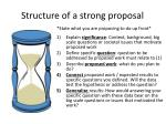 structure of a strong proposal