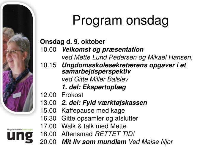 Program onsdag