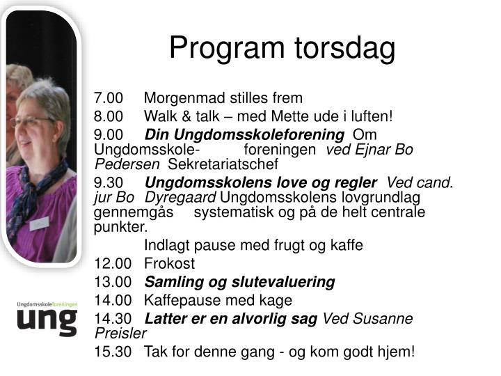 Program torsdag
