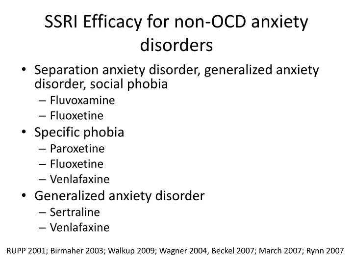 SSRI Efficacy for non-OCD anxiety disorders