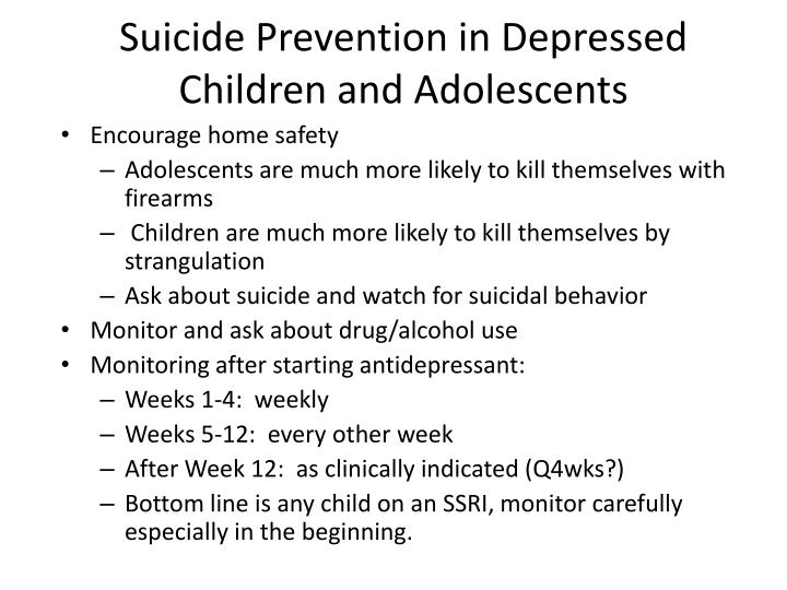Suicide Prevention in Depressed Children and Adolescents