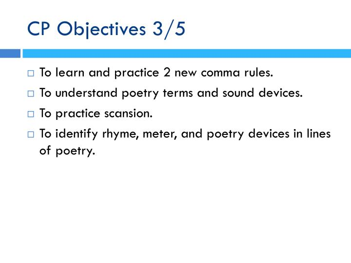 CP Objectives 3/5