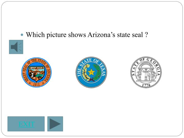 Which picture shows Arizona's state seal ?