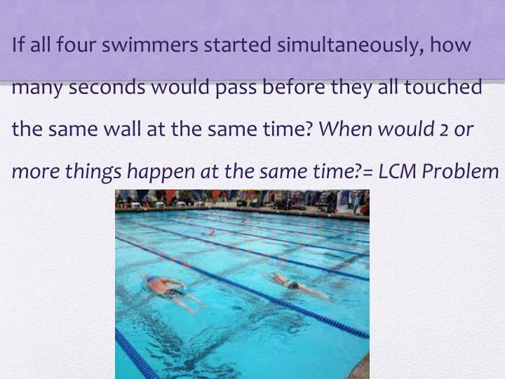 If all four swimmers started simultaneously, how many seconds would pass before they all touched the same wall at the same time?