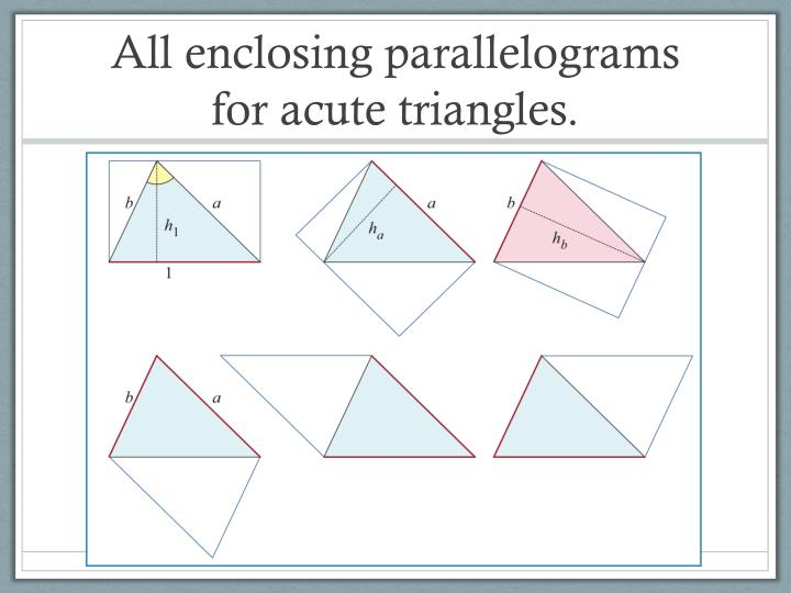 All enclosing parallelograms for acute triangles.