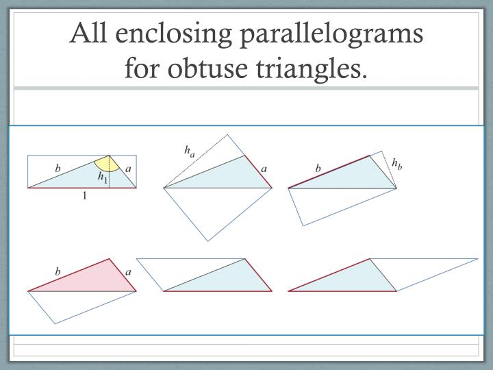 All enclosing parallelograms for obtuse triangles.