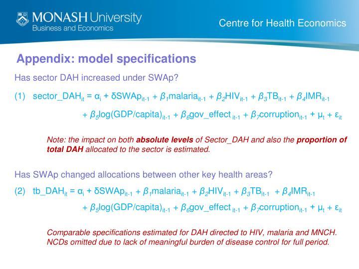 Appendix: model specifications