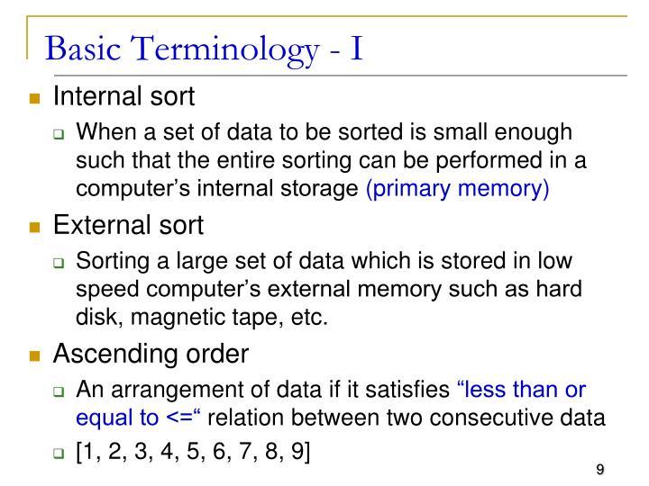 Basic Terminology - I