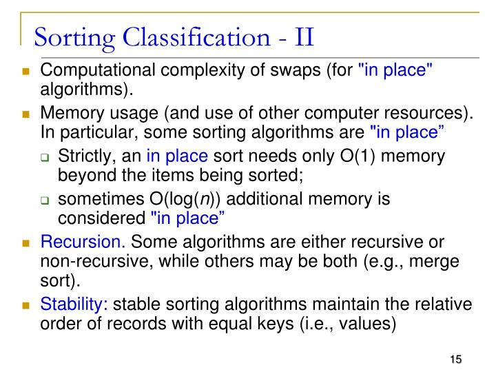 Sorting Classification - II