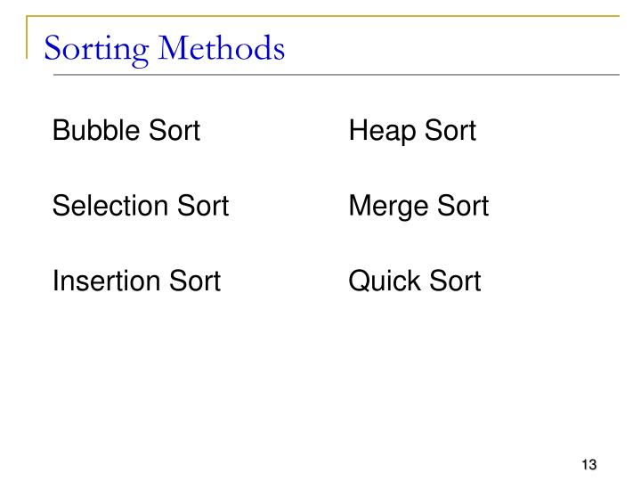 Sorting Methods