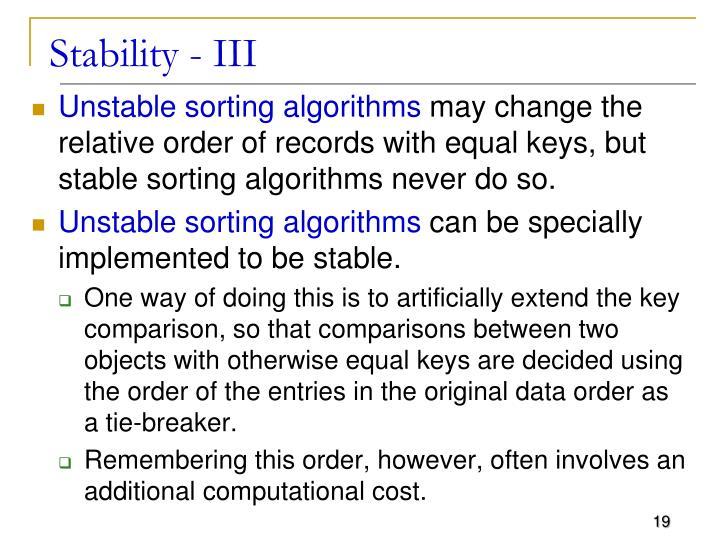 Stability - III