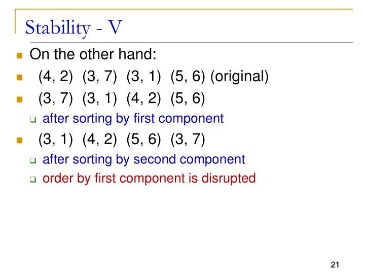 Stability - V